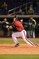 Louisville Cardinals infielder Sutton Whiting (1) at bat during a game against the USF Bulls on February 14, 2015 at Bright House Field in Clearwater, Florida.  Louisville defeated USF 7-3.  (Mike Janes/Four Seam Images)