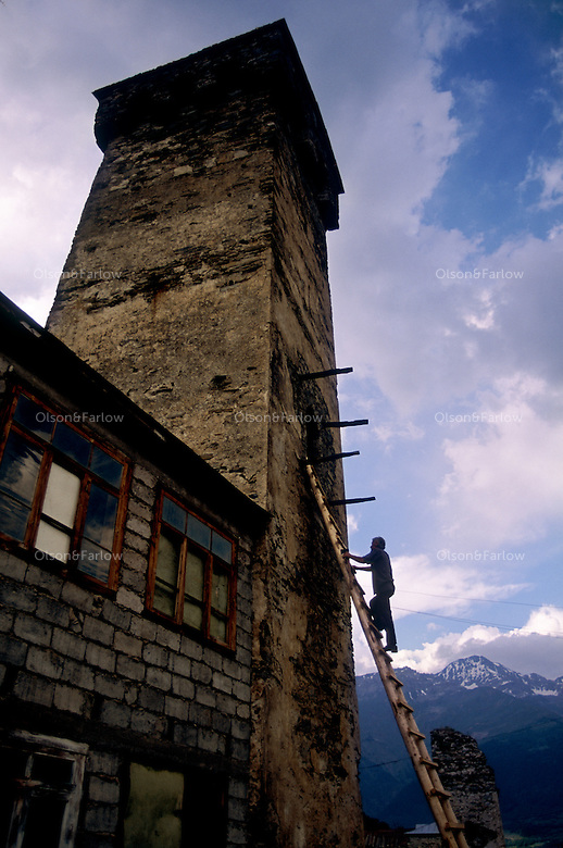 Ushguli Settlement in Upper Svaneti..Familes live in 12th century medieval towers in this isolated region.  There is one road leading into the highest settlement in Europe.  It is plagued by bandits, and passible only for a few months because winters last 7-8 months...