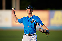 Hudson Valley Renegades Tanner Dodson (10) warms up before a game against the Tri-City ValleyCats on August 24, 2018 at Dutchess Stadium in Wappingers Falls, New York.  Hudson Valley defeated Tri-City 4-0.  (Mike Janes/Four Seam Images)