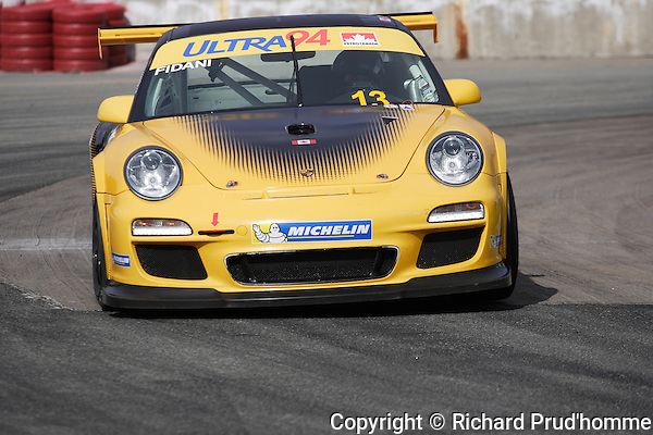 In car number 13, Orey Fidani competitng in the Porsche GT3 Cup Challenge Canada at the GP3R in Trois-Rivieres, Quebec