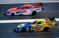 Nov 3, 2019; Las Vegas, NV, USA; NHRA funny car driver Ron Capps (near) alongside Bob Tasca III during the Dodge Nationals at The Strip at Las Vegas Motor Speedway. Mandatory Credit: Mark J. Rebilas-USA TODAY Sports