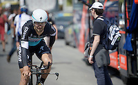 Tom Boonen (BEL/Etixx-QuickStep) heading out for a TTT recon<br /> <br /> 2015 Giro<br /> startzone of stage 1: San Lorenzo Al Mare - San remo (TTT/17.6km)