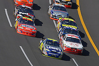 Apr 29, 2007; Talladega, AL, USA; Nascar Nextel Cup Series driver Jimmie Johnson (48) and Kasey Kahne (9) lead the field during the Aarons 499 at Talladega Superspeedway. Mandatory Credit: Mark J. Rebilas