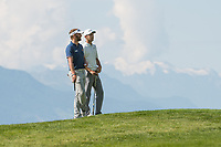 Jack Singh Brar (ENG) and Joost Luiten (NED) during third round at the Omega European Masters, Golf Club Crans-sur-Sierre, Crans-Montana, Valais, Switzerland. 31/08/19.<br /> Picture Stefano DiMaria / Golffile.ie<br /> <br /> All photo usage must carry mandatory copyright credit (© Golffile | Stefano DiMaria)