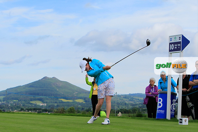 Leona Maguire on the 10th tee during the Saturday Afternoon Fourballs of the 2016 Curtis Cup at Dun Laoghaire Golf Club on Saturday 11th June 2016.<br /> Picture:  Golffile | Thos Caffrey