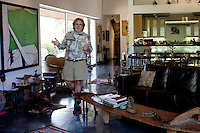 Los Angeles, California, November 14, 2009 - Portrait of Ernie and Diane Wolfe in their home, based on a Quonset hut. The Wolfe's own the Ernie Wolfe Gallery and are the most reknowned African at dealers in the country. ..CREDIT: Daryl Peveto/LUCEO for The Wall Street Journal.Homefront - Ernie Wolfe #1348.