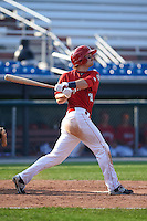 Auburn Doubledays first baseman David Kerian (21) at bat during a game against the Batavia Muckdogs on September 7, 2015 at Falcon Park in Auburn, New York.  Auburn defeated Batavia 11-10 in ten innings.  (Mike Janes/Four Seam Images)