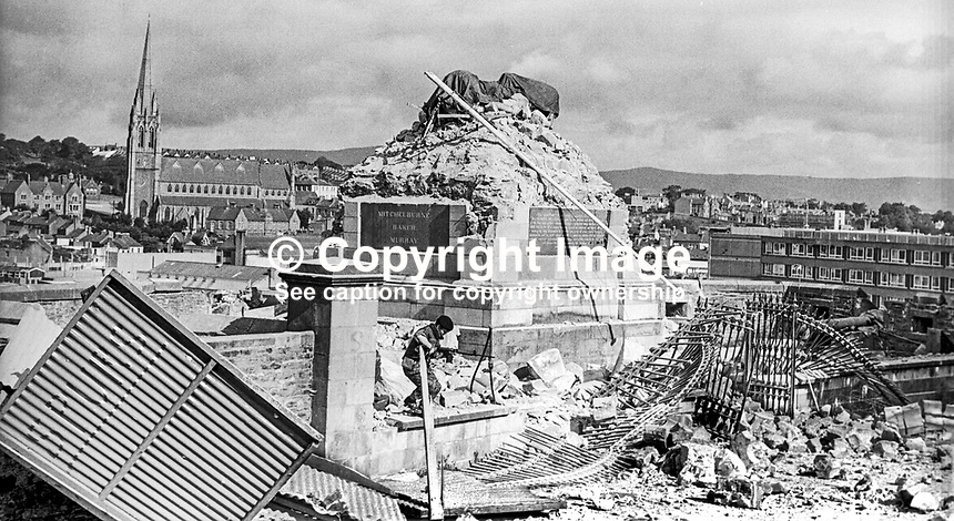Soldier at the scene of the overnight bombing in Londonderry, N Ireland, in which the Walker Memorial Pillar was destroyed in a Provisional IRA explosion 2th August 1973. 197308270575m<br />