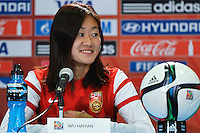 China's Haiyan Wu speaks to the media during press conference on the eve of Women's World Cup Soccer match, Friday June 05, 2015 in Edmonton, Alberta. (Mo Khursheed/TFV Media via AP Images)