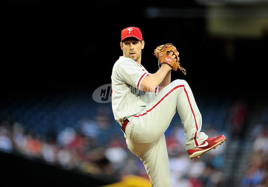 Apr. 25, 2011; Phoenix, AZ, USA; Philadelphia Phillies pitcher Cliff Lee against the Arizona Diamondbacks at Chase Field. Mandatory Credit: Mark J. Rebilas-