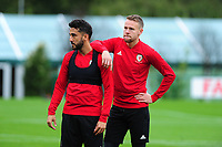 Neil Taylor and Chris Gunter of Wales during the Wales Training Session at The Vale Resort in Cardiff, Wales, UK. Monday 07 October 2019