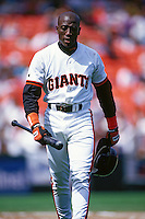 "SAN FRANCISCO, CA - Actor Wesley Snipes wears a San Francisco Giants uniform as Bobby Raybrun as he films a scene for the motion picture ""The Fan"" before a game at Candlestick Park in San Francisco, California in 1994. (Photo by Brad Mangin)"