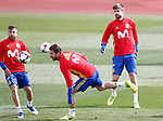 Spain's Jordi Alba (l), Sergio Ramos (c) and Gerard Pique during training session. March 21,2017.(ALTERPHOTOS/Acero)