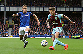 1st October 2017, Goodison Park, Liverpool, England; EPL Premier League Football, Everton versus Burnley; Jeff Hendrick of Burnley crosses the ball into the Everton penalty area as Nikola Vlasic of Everton attempts to block