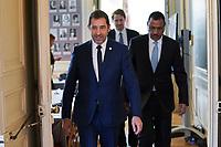 Christophe Castaner - Ministre de l Interieur<br /> Mohamed Bazoum - Ministre de l Interieur de la Republique du Niger<br /> Parigi Place Beauveau 5/4/2019 <br /> G7 Ministri dell'interno <br /> Foto JB Autissier/Panoramic/Insidefoto