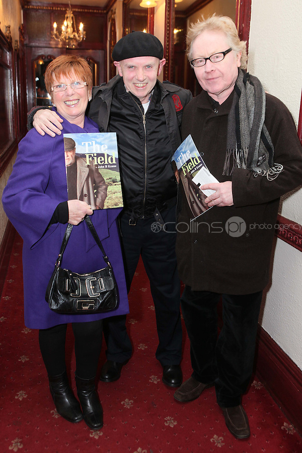 "NO REPRO FEE. 17/1/2010. The Field opening night.  Margret Shiels, Brush Shiels and Paul Brady  are pictured at the Olympia Theatre for the opening night of John B Keanes 'The Field"" Picture James Horan/Collins"