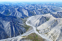 This aerial photo shows the rugged Philip Smith Mountains, part of Alaska's Brooks Range in the Arctic National Wildlife Refuge, can be very dry after the initial snowmelt in early summer.