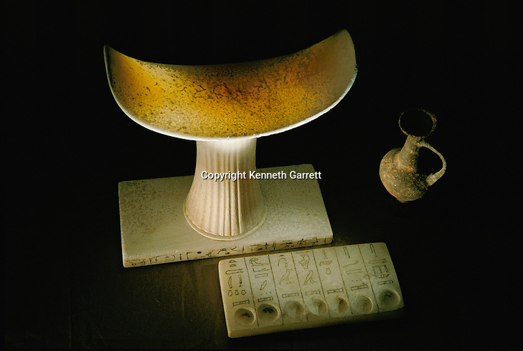 Headrest and seven sacred oils tablet; Egypt; Tomb of Qar; Sakkara; Saqqara