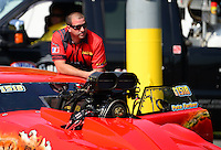 Jun. 15, 2012; Bristol, TN, USA: NHRA pro mod driver Peter Farber during qualifying for the Thunder Valley Nationals at Bristol Dragway. Mandatory Credit: Mark J. Rebilas-