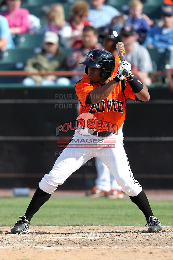 Bowie BaySox outfielder Antoan Richardson #4 during a game against the Harrisburg Senators at Prince George's Stadium on April 8, 2012 in Bowie, Maryland.  Harrisburg defeated Bowie 5-2.  (Mike Janes/Four Seam Images)