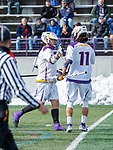 University at Albany Men's Lacrosse defeats Cornell 11-9 on Mar 4 at Casey Stadium.  Tehoka Nanticoke (#1) celebrates the first goal with Justin Reh (#11).
