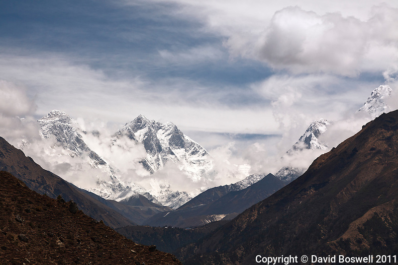 Lohtse (center) and Mount Everest (left) dominate the view from Sagarmatha National Park Headquarters at Namche Bazaar, Nepal.