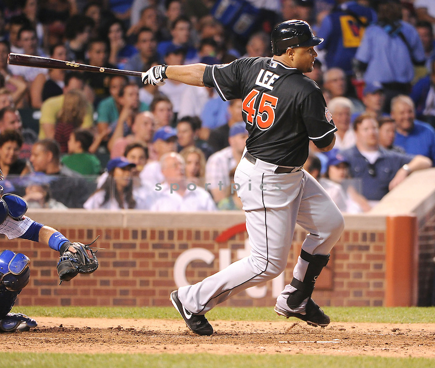 CARLOS LEE (45) of the Miami Marlins in action during the Marlins game against the Chicago Cubs on July 18, 2012 at Wrigley Field in Chicago, IL. The Cubs beat the Marlins 5-1.