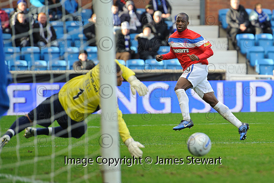 RANGERS' SONE ALUKO SHOOTS AT GOAL