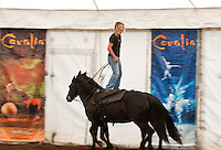 Cavalia performer Chad Dyson demonstrates Roman Riding in reverse for members of the media on July 13, 2012 in San Jose, California.