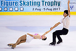 Hyung Tae Kim and Su Yeon Kim of Korea compete in Senior Pairs group during the Asian Open Figure Skating Trophy 2017 on August 04, 2017 in Hong Kong, China. Photo by Power Sport Images / Marcio Rodrigo Machado