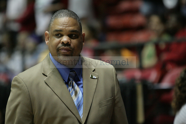 Hampton Head Coach David Six walks off the court after his UK  first round NCAA loss against UK in The Pit in Albuquerque, New Mexico, 3/19/11. Photo by Brandon Goodwin | Staff.