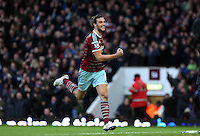 Sunday 07 December 2014<br /> Pictured: Andy Carroll of West Ham is celebratingf his second goal<br /> Re: Premier League West Ham United v Swansea City FC at Boleyn Ground, London, UK.