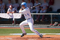 Ben Bunting #3 of the North Carolina Tar Heels follows through on his swing against the Florida State Seminoles at Boshamer Stadium March 20, 2010, in Chapel Hill, North Carolina.  Photo by Brian Westerholt / Four Seam Images