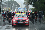 The start of Stage 8 of the 2018 Paris-Nice running 110km from Nice to Nice, France. 11th March 2018.<br /> Picture: ASO/Alex Broadway | Cyclefile<br /> <br /> <br /> All photos usage must carry mandatory copyright credit (&copy; Cyclefile | ASO/Alex Broadway)