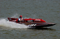 "2003 Madison Regatta, 5-6 July 2003, Madison, IN USA                                .Buddy Byers, ""Chrysler Queen"" H-1, 7 Litre Division I Lauterbach hydroplane..F. Peirce Williams .photography.P.O.Box 455  Eaton, OH 45320 USA.p: 317.358.7326  fpwp@mac.com"