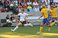 Amy Rodriguez has a shot on goal...USWNT tied Sweden 1-1 at Morison Stadium, Nebraska.