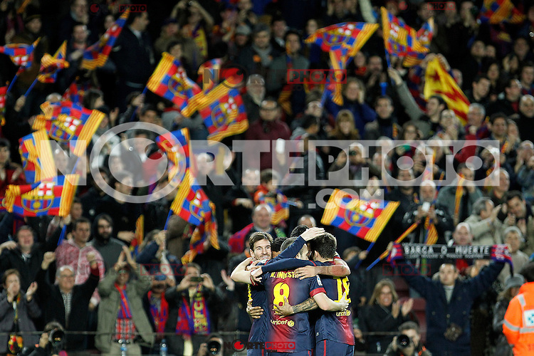 FC Barcelona's Leo Messi, Daniel Alves, Sergio Busquets and Andres Iniesta celebrate goal during La Liga match.December 16,2012. (ALTERPHOTOS/Acero) /NortePHOTO