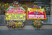 Yogyakarta, Java, Indonesia.  Wedding Announcement Outside a Hotel.