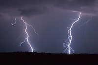 Twin lightning bolts at night in Kansas
