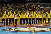 TORONTO, CANADA, 24.07.2015 - PAN-HANDBALL - Jogadoras do Brasil comemoram a conquista da medalha de ouro após partida contra Argentina na final do Handball Feminino no Centro de Exposições de Toronto nesta sexta-feira, 24. (Foto: William Volcov/Brazil Photo Press)