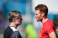 Carlisle United manager Steven Pressley, left, and Lincoln City's Cian Bolger prior to the game<br /> <br /> Photographer Chris Vaughan/CameraSport<br /> <br /> The EFL Sky Bet League Two - Carlisle United v Lincoln City - Friday 19th April 2019 - Brunton Park - Carlisle<br /> <br /> World Copyright © 2019 CameraSport. All rights reserved. 43 Linden Ave. Countesthorpe. Leicester. England. LE8 5PG - Tel: +44 (0) 116 277 4147 - admin@camerasport.com - www.camerasport.com