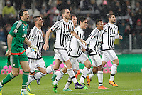 Calcio, Serie A: Juventus vs Inter. Torino, Juventus Stadium, 28 February 2016.<br /> Juventus&rsquo; players, from left, Gianluigi Buffon, Stefano Sturaro, Leonardo Bonucci, Hernanes, Mario Mandzukic, Alex Sandro and Alvaro Morata greet fans at the end of the Italian Serie A football match between Juventus and Inter at Turin's Juventus Stadium, 28 February 2016. Juventus won 2-0.<br /> UPDATE IMAGES PRESS/Isabella Bonotto