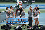 21 February 2017: ASU head coach Blake Mosley (center) talks to his team. The University of North Carolina Tar Heels hosted the Appalachian State University Mountaineers at the Cone-Kenfield Tennis Center in Chapel Hill, North Carolina in a Women's College Tennis match. North Carolina won the match 6-1.