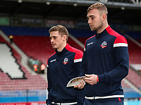 Bolton Wanderers' Joe Pritchard and Connor Hall inspecting the pitch before the match<br /> <br /> Photographer Andrew Kearns/CameraSport<br /> <br /> The EFL Sky Bet Championship - Wigan Athletic v Bolton Wanderers - Saturday 16th March 2019 - DW Stadium - Wigan<br /> <br /> World Copyright &copy; 2019 CameraSport. All rights reserved. 43 Linden Ave. Countesthorpe. Leicester. England. LE8 5PG - Tel: +44 (0) 116 277 4147 - admin@camerasport.com - www.camerasport.com