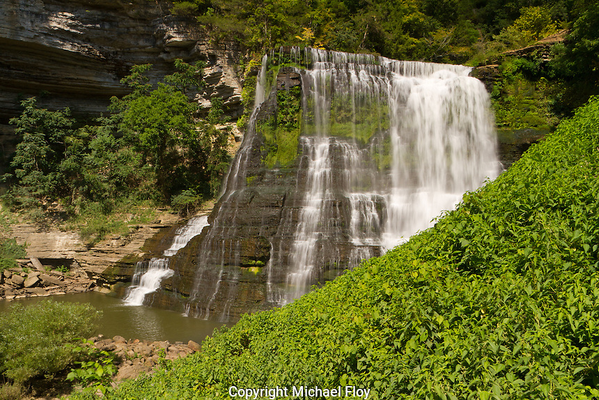 The Falling Water River drops 136' over Burgess Falls lower falls viewed from hiking trail.