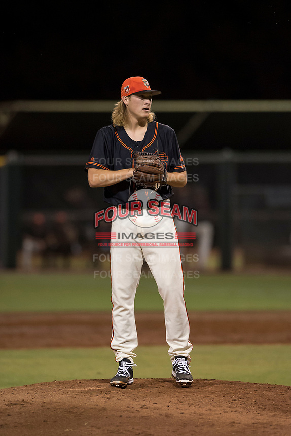 AZL Giants Black relief pitcher Ben Strahm (13) prepares to deliver a pitch during an Arizona League game against the AZL Angels at the San Francisco Giants Training Complex on July 1, 2018 in Scottsdale, Arizona. The AZL Giants Black defeated the AZL Angels by a score of 4-2. (Zachary Lucy/Four Seam Images)