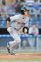 Delmarva Shorebirds right fielder Mike Yastrzemski #18 runs to first during opening night game against the Asheville Tourists at McCormick Field on April 3, 2014 in Asheville, North Carolina. The Tourists defeated the Shorebirds 8-3. (Tony Farlow/Four Seam Images)