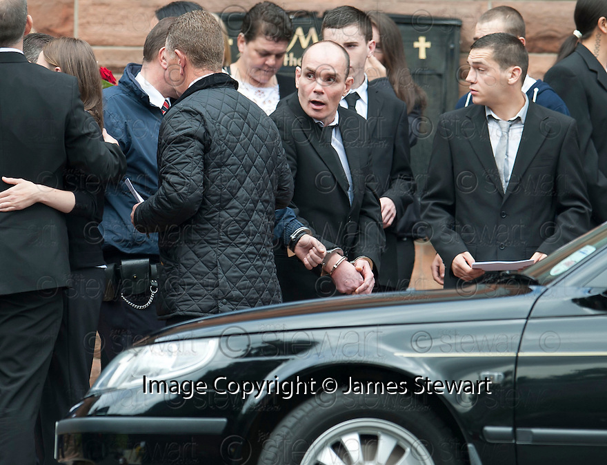 Hugh Haney at the funeral of former crime family matriarch Mags Haney at St Mary's RC Church in Stirling.