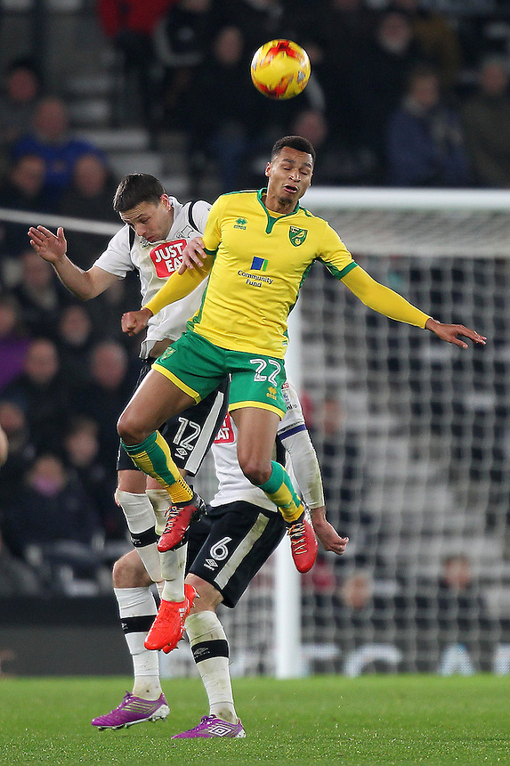 Derby County's Chris Baird jumps with Norwich City's Jacob Murphy<br /> <br /> Photographer Mick Walker/CameraSport<br /> <br /> The EFL Sky Bet Championship - Derby County v Norwich City - Saturday 26th November 2016 -Pride Park - Derby<br /> <br /> World Copyright &copy; 2016 CameraSport. All rights reserved. 43 Linden Ave. Countesthorpe. Leicester. England. LE8 5PG - Tel: +44 (0) 116 277 4147 - admin@camerasport.com - www.camerasport.com