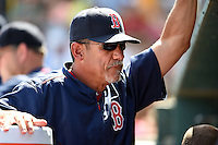 Boston Red Sox pitching coach Juan Nieves (47) during a Spring Training game against the Pittsburgh Pirates on March 12, 2015 at McKechnie Field in Bradenton, Florida.  Boston defeated Pittsburgh 5-1.  (Mike Janes/Four Seam Images)